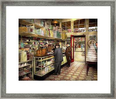 Drugstore - Exact Change Please 1920 Framed Print by Mike Savad