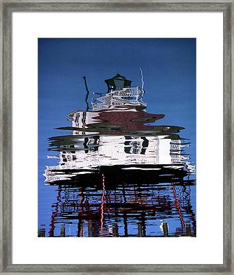 Drum Point Lighthouse Reflection Framed Print by Skip Willits