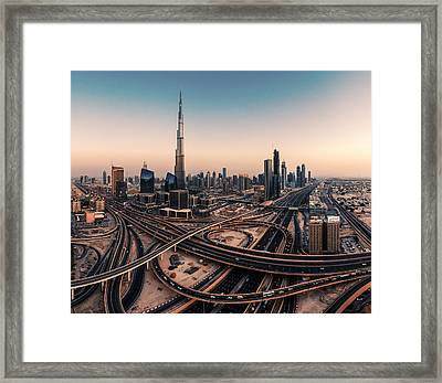 Dubai Skyline Panorama Framed Print by Jean Claude Castor