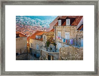 Dubrovnik Clothesline Framed Print by Inge Johnsson