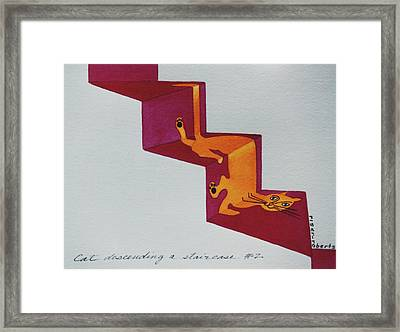 Duchamp's Cat Descending A Staircase  No. 2 Framed Print by Eve Riser Roberts