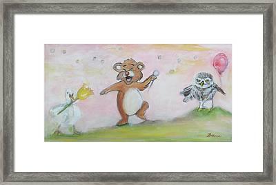 Duck, Bear,owl Framed Print by Denice Palanuk Wilson