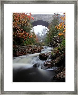 Duck Brook Bridge In The Rain Framed Print by Dave Storym