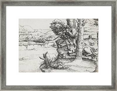 Duck Shooting With Firearms Framed Print by Augustin Hirschvogel