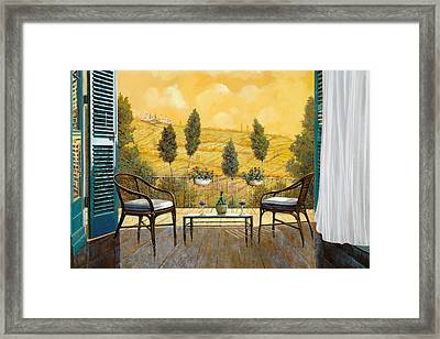 due bicchieri di Chianti Framed Print by Guido Borelli