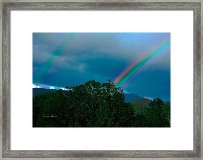 Dueling Rainbows Framed Print by DigiArt Diaries by Vicky B Fuller