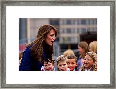 Duke And Duchess Of Cambridge Prince William And Kate Middleton Visit Dundee Framed Print by Euan Donegan