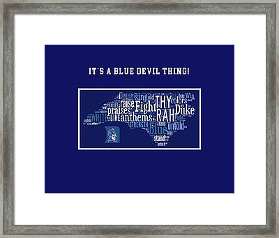 Duke University Blue And White Products Framed Print by Paulette B Wright