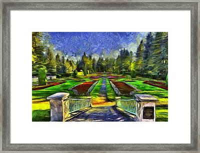 Duncan Gardens Van Gogh Style Framed Print by Mark Kiver