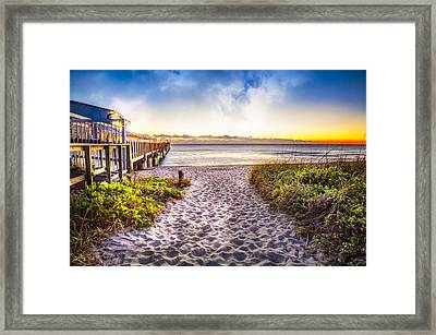 Dunes At The Pier Framed Print by Debra and Dave Vanderlaan