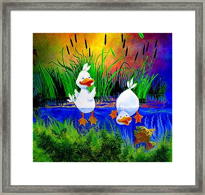 Dunking Duckies Framed Print by Hanne Lore Koehler