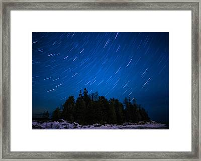 Dunks Point Star Trail Framed Print by Cale Best