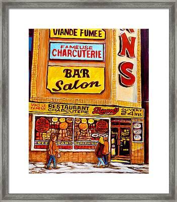 Dunn's Restaurant Montreal Framed Print by Carole Spandau