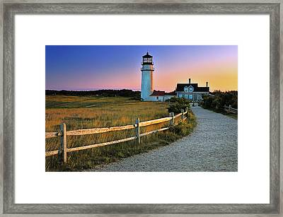 Dusk At Cape Cod Lighthouse Framed Print by Thomas Schoeller