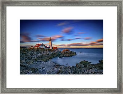 Dusk At Portland Head Lighthouse Framed Print by Rick Berk