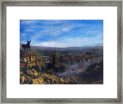 Dusk Falls On The Road To Malaga Framed Print by Randy Sprout