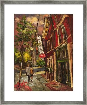 Dusk In Downtown Framed Print by Carole Foret