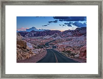 Dusk On The Open Road Framed Print by Rick Berk