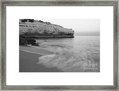 Dusk Scene In Albandeira Beach. Monochrome Framed Print by Angelo DeVal