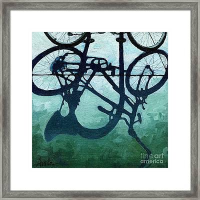 Dusk Shadows - Bicycle Art Framed Print by Linda Apple