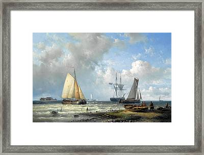 Dutch Barges In A Calm Framed Print by Abraham Hulk
