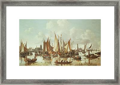 Dutch Ships At Dordrecht Harbor Framed Print by Hendrick de Meyer