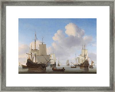 Dutch Ships In A Calm Framed Print by War Is Hell Store
