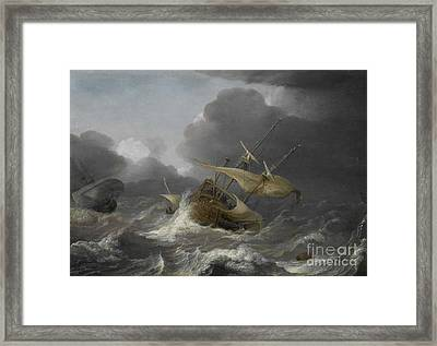 Dutch Ships In A Gale Framed Print by Jan Porcellis