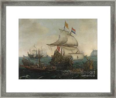 Dutch Ships Ramming Spanish Galleys Off The Flemish Coast In October Framed Print by Celestial Images