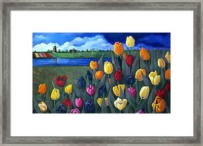 Dutch Tulips With Landscape Framed Print by Joyce Geleynse