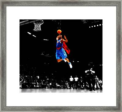 Dwight Howard Superman Dunk Framed Print by Brian Reaves