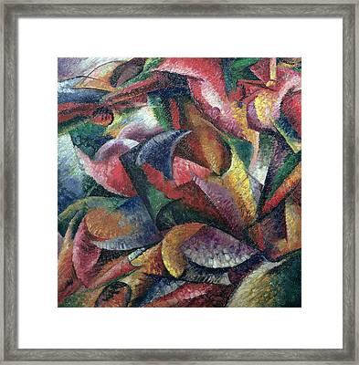 Dynamism Of The Body Framed Print by Umberto Boccioni