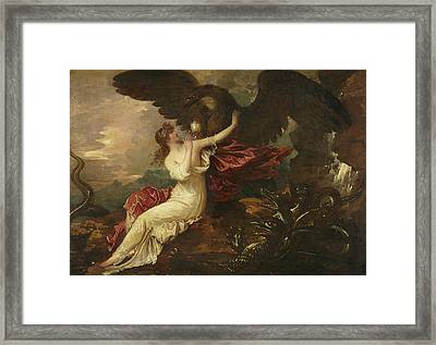Eagle Bringing Cup To Psyche Framed Print by Benjamin West