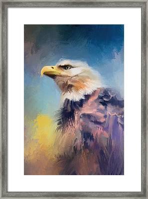 Eagle On Guard Framed Print by Jai Johnson
