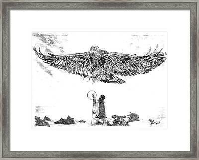Eagle Visit Framed Print by John Keaton