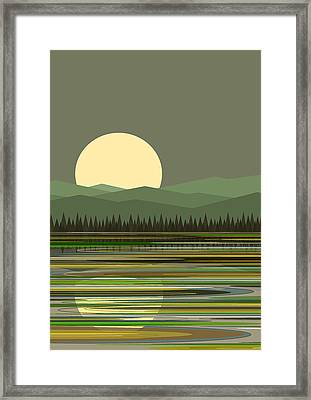 Early Morning Moon Framed Print by Val Arie