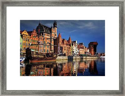 Early Morning On The Motlawa River In Gdansk Poland Framed Print by Carol Japp
