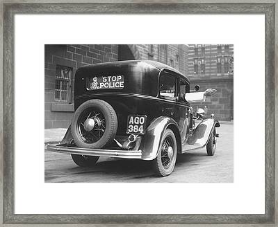Early Police Car Framed Print by Topical Press Agency