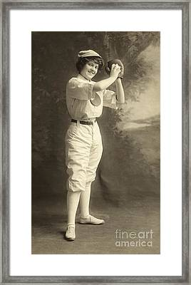 Early Portrait Of A Woman Baseball Player Framed Print by American School