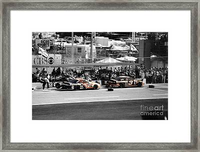 Earnhardt And Martin In The Pits Framed Print by John Black