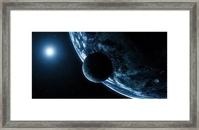 Earth And Moon, Artwork Framed Print by Sciepro