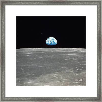 Earth And The Moon Framed Print by Stocktrek Images