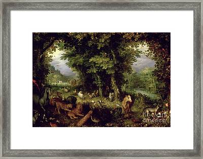 Earth Or The Earthly Paradise Framed Print by Jan the Elder Brueghel