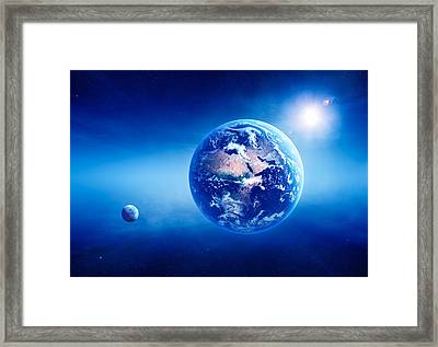 Earth Sunrise Deep Space Framed Print by Johan Swanepoel