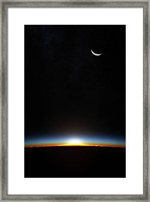 Earth Sunrise Through Atmoshere Framed Print by Johan Swanepoel