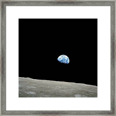 Earthrise Over Moon, Apollo 8 Framed Print by Nasa