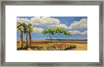 East Over The Marsh Framed Print by Karen Macek