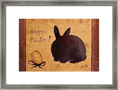 Easter Golden Egg And Chocolate Bunny Framed Print by Georgeta  Blanaru