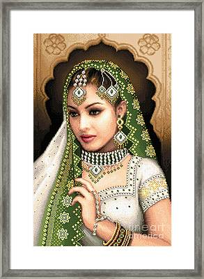 Eastern Beauty In Green Framed Print by Stoyanka Ivanova
