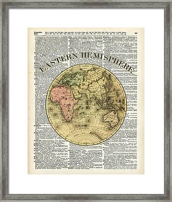 Eastern Hemisphere Earth Map Over Dictionary Page Framed Print by Jacob Kuch